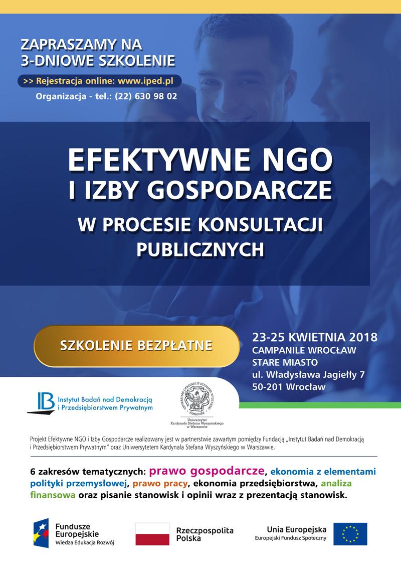 Zapraszamy NGO oraz Izby Gospodarcze na bezpłatne szkolenie we Wrocławiu